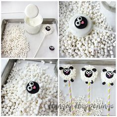 Dip Oreo Cookies into white chocolate, toss on lots of mini marshmallows, then decorate to look like a lamb. See how to make these Oreo Lamb Lollipops at . Chocolate Marshmallow Cookies, Oreo Cookies, Chocolate Dipped, White Chocolate, Oreo Treats, Cake Chocolate, Sheep Crafts, Crafts For Kids, Lamb Lollipops
