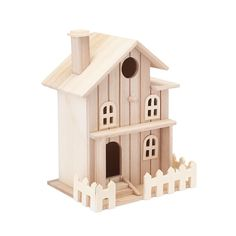 Two Story Cottage Birdhouse by ArtMinds® Birdhouse Designs, Decorative Bird Houses, Easy Coffee, Wood Carving Tools, White Chalk Paint, Glitter Houses, Wooden Fence, Second Story, Unfinished Wood