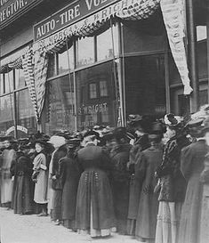 U.S. Women waiting in line to vote in an election (probably for a school board) in a downtown Minneapolis precinct, c.1908.