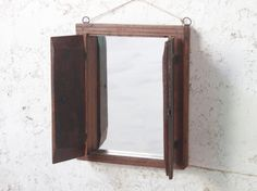 A beautiful teak wall mirror with shutters crafted from a reclaimed antique window frame. Antique Window Frames, Antique Windows, Vintage Mirrors, Table Desk, Dining Table, Industrial Table, Vintage Table, Unique Furniture, Wall Mirror