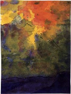 Autumn Clouds  -  Emil Nolde  German  1867-1957  Brush and Ink and Watercolour,  15,7 x 11,7 cm (6,2 x 4,6 in)