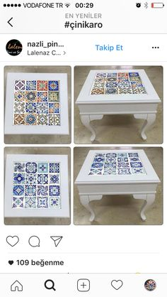 Great idea for our wood coffee table (sfd) Upcycled Furniture, Home Decor Furniture, Furniture Makeover, Painted Furniture, Tile Art, Mosaic Art, Mexican Kitchen Decor, Small Space Interior Design, Creation Deco