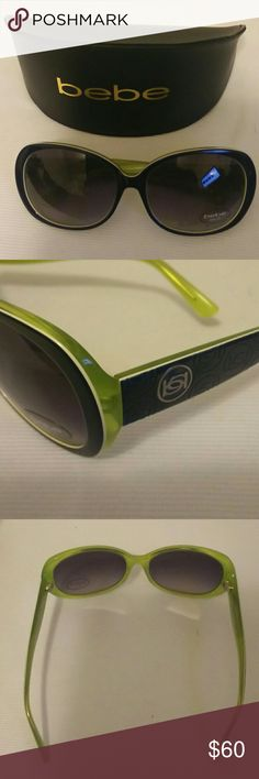 Bebe Women's Sunglasses Bebe Women's Sunglasses, Navy Blue front, with Crystal Green back. Includes hard case. New, never worn. bebe Accessories Sunglasses