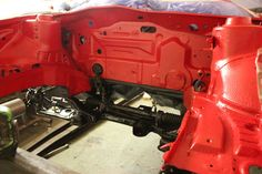 VW Corrado restoration engine bay welded and painted in Tornado Red