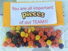 Volleyball team spirit gifts - note on box of Candy Softball Gifts, Cheerleading Gifts, Cheer Gifts, Cheer Mom, Basketball Gifts, Cheer Treats, Soccer Treats, Dance Team Gifts, Basketball Playoffs