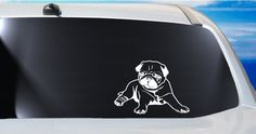 Chillin Pug vinyl car window decal, dog, animal lover, pugs sticker, black pugs, cute puppy, laptop tablet phone case decal, craft ideas