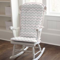 Rocking chair pads made by Carousel Designs in the USA. These rocking chair pads are made for full size rocking chairs and can be a great accent in any home. Each rocking chair pad includes back and bottom cushions.