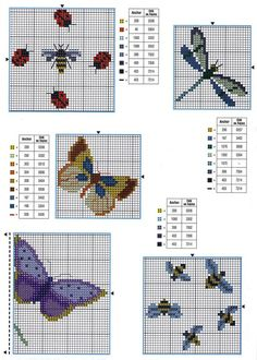 Schémas broderie libellules et des papillons 2