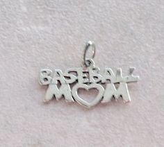 Charms, Sports:  Baseball Mom Sterling Silver Charm #Traditional