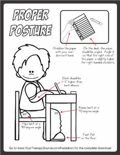 Remind students and teachers about proper posture for handwriting