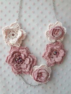 Crochet and taffeta roses necklace pattern for sale from Little Treasures