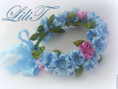 """Купить Мини-веночек для прически в стиле """"бабетта"""" - голубой, незабудки, бабочки, бабетта, веночек, принцесса"""