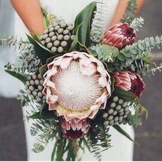 Bouquet maravilhoso com a mais nova flor queridinha das noivas: Protea! Um show de inspiração! ❤ -  Impossible not to be inspired by this breathtaking bouquet! #protealovers #berriesandlove #bouquetdenoiva #bridalbouquet