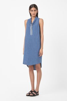 Tie-neck chambray dress