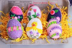 A happy little egg carton full of color, fun, and 100% handcrafted felt egg ornaments! This set of 6 eggs is designed, cut, and stitched by me and filled with love and care. I wanted to create eggs with great colors and lots of details so I poured my heart into this special group of