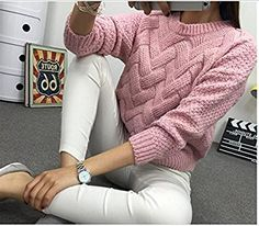 Women's Classic Cable Knit Crew Neck Casual Pullover Sweater
