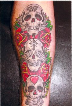 See, Hear & Speak No Evil skull tattoo Sugar Skulls Evil Skull Tattoo, Sugar Skull Tattoos, Sugar Skulls, Forearm Sleeve Tattoos, Arm Tattoo, Tattoo Flash, Viking Ship Tattoo, Cool Tats, Awesome Tattoos