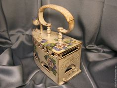 Decoupage, Shabby Chic Crafts, Trash To Treasure, Lanterns, Suitcase, Irons, Antiques, Painting, Vase