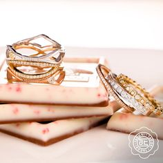 White, rose & yellow gold stacking rings and wedding bands by @tacori