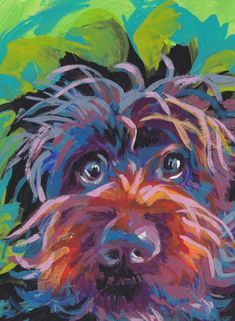 Wirehaired pointing griffon print of pop art dog painting bright colors portrait - Animals Dog Pop Art, Dog Artwork, Colorful Animals, Wild Nature, Dog Portraits, Animal Paintings, Painting Inspiration, Original Paintings, Art Gallery