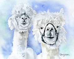 Alpacas Watercolor Painting Giclee Print by SusanWindsor on Etsy