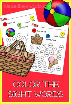 FREE Color the Sight Words - Summer Edition