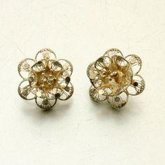 Vintage Silver Filigree Flower Earrings by mybooms on Etsy, $24.50