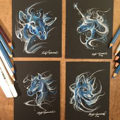 Patreon Patronus Sketches for March! What would your Patronus be? Art Drawings Sketches, Realistic Drawings, Animal Drawings, Fox Patronus, Zentangle, Horse Sketch, Unicorn Drawing, Doodle Inspiration, Tattoo Inspiration
