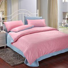 4 peças-de-rosa e azul de algodão edredon conjunto de capa de impressão – BRL R$ 177,10