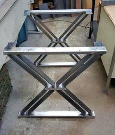 Dining Table X Legs Industrial Legs Set of 2 by MetalAndWoodDesign