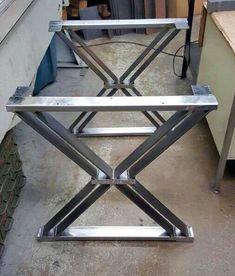 "Design Dining Table ""X"" Legs, Sturdy Industrial Legs, Set of 2 Steel Legs"