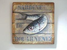 SARDINES DE DOUARNENEZ (Peinture),  30x40 cm par Philippe Coeurdevey Petites planches de bois peintes et cirées.