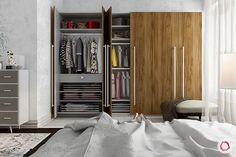 Our modular wooden wardrobe designs have great storage capacity and look elegant. A must-have for every Indian home. Contemporary Interior Doors, Pine Interior Doors, Indian Home Design, Indian Home Interior, Almirah Designs, Wooden Wardrobe, Cosy Room, Wardrobe Design Bedroom, Construction