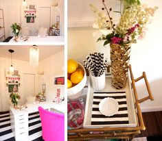 The Pink and White Office of Leah Remillet - love the L-Desk Shape