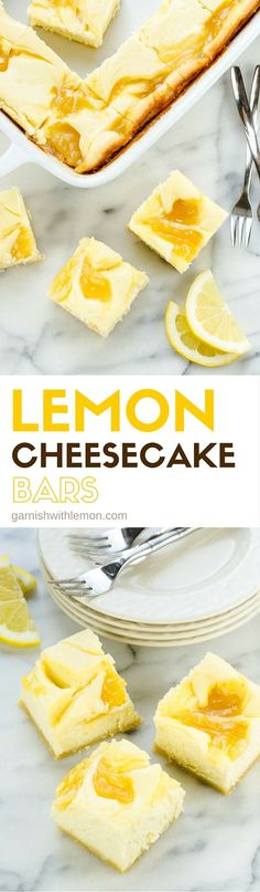 These Lemon Cheesecake Bars have a tart lemon curd swirl that gives each bite of rich cheesecake just the right amount of tang. Perfect dessert for parties!