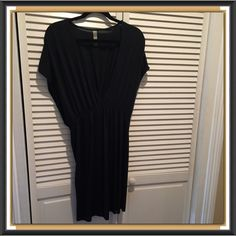 ⚡FOURTH SALE⚡️Black VS Knit Cover-Up BNWOT, black, very deep v-neck, gathered at waist, cover up. Never washed or worn. Raw edge. 93% Modal 7% Spandex. VERY NICE!!! Victoria's Secret Swim Coverups