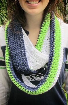 The 12th Man Seattle Seahawks Infinity by CrochetsbyShell on Etsy, $25.00
