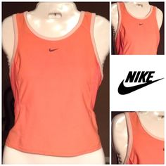 """Nike Dri-Fit Top Beautiful NIKE Dri-Fit work out tank has a nice Peach color and the trim is a cream color. This shirt stretches. Size Medium(8-10). The length is """"19.5.  Arm to Arm laying flat is """"16.5.  In overall good condition with normal wear.  Non smoking home Nike Tops Tank Tops"""