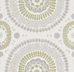 Boheme (110654) - Harlequin Wallpapers - A detailed and elegant large scale boho motif pattern, inspired by original block prints. Shown here in dovetail grey and green. Other colourways are available. Please request a sample for a true colour match. Paste-the-wall product.