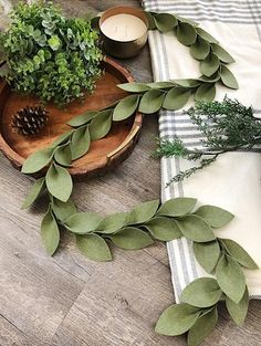 Beautiful magnolia leaf garlands made of premium acrylic felt! Thick Hand-cut leaves create a long garland! Each leaf measures approx. A beautiful olive green color is perfect year round! Magnolia Leaf Garland, Fall Leaf Garland, Magnolia Leaves, Felt Wreath, Felt Garland, Diy Garland, Origami Garland, Garland Ideas, Christmas Projects