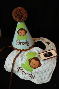Modern Monkey Boy 1st First  Birthday Hat and bib set Light blue and Lime green. $44.00, via Etsy.
