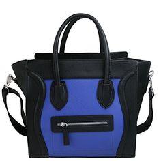 Miss Lulu Frauen Kunstleder-Handtasche Lächeln Schwarz Blau L1101 BK NY