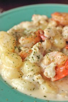 Seafood Gnocchi with White Wine Sauce that is filled with plump shrimp and lump crab meat. Perfect for a romantic dinner for two.