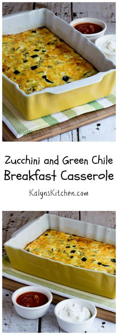 This delicious Zucchini and Green Chile Breakfast Casserole is low-carb, gluten-free, and easy to make! I add extra cottage cheese for more protein when I make this. [from KalynsKitchen.com]