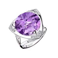 Tellement Divine ring, by Mauboussin. White gold, amethyst and paved diamonds. Instagram Mauboussin Singapore: https://instagram.com/p/8hJH5fsJPu/?taken-by=mauboussin_singapore