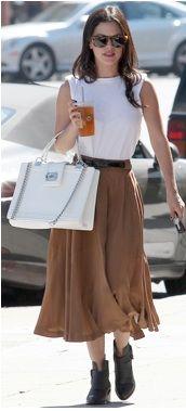 Rachel Bilson / midi skirt, white top, and ankle boots