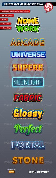 Illustrator Graphic Styles for Adobe Illustrator #design #ai Download: http://graphicriver.net/item/illustrator-graphic-styles-01/6619187?ref=ksioks