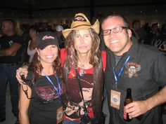Lon and Denise Nordbye hanging with Aerosmith frontman Steven Tyler.  Sturgis Buffalo Chip 2009