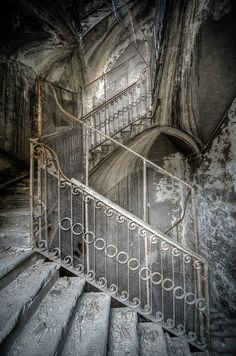Staircase in an abandoned sanatorium.