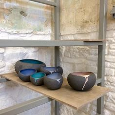 Drip still on, leather-hard pebble bowls, on the new drying rack. Finally working in a studio with proper equipment, feels really great! #ceramics #studio #pebbles #myrtozirini #pottery #contemporaryceramics #corfu #mouragia #corfuoldtown #greece #greekislands #ionianislands